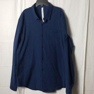 Lululemon men's navy blue button up shirt size-XL